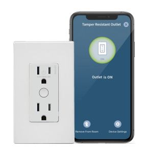 The connected electrical outlets allows building owners to turn lamps or other small appliances that are plugged into the top receptacle on and off through the My Leviton app.