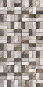 Grey Mixed Mosaic creates an infinite mosaic composed of rectangular shapes connected by a color-complementing simulated grout line.