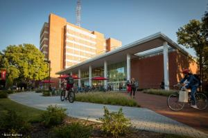 NC State University in Raleigh, N.C., installs new turnstiles as part of a major renovation of its D. H. Hill Library.