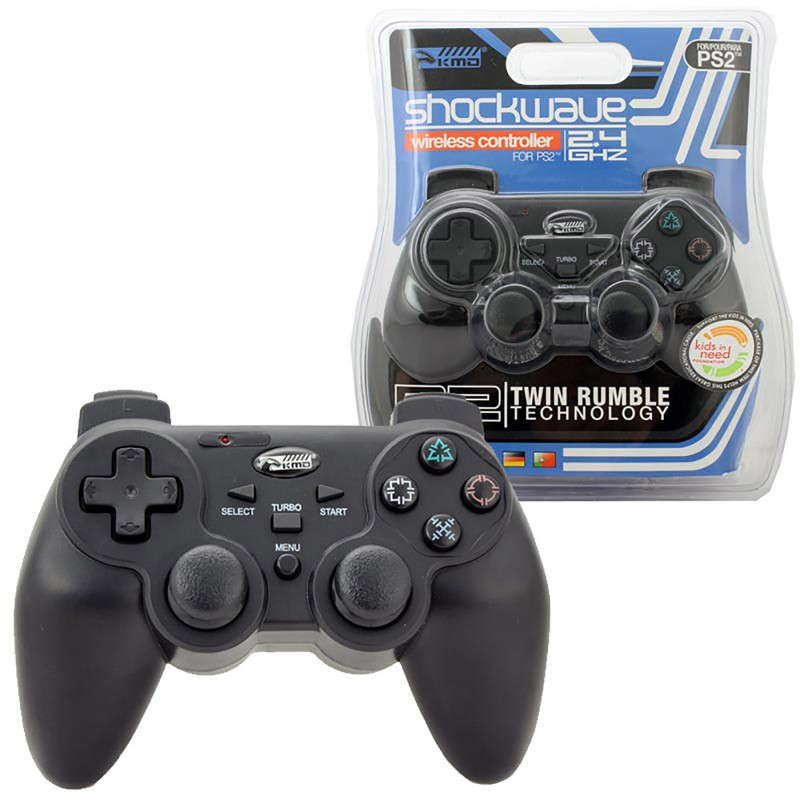 PS2 Wireless Controller Shock Wave 24GHZ In Black