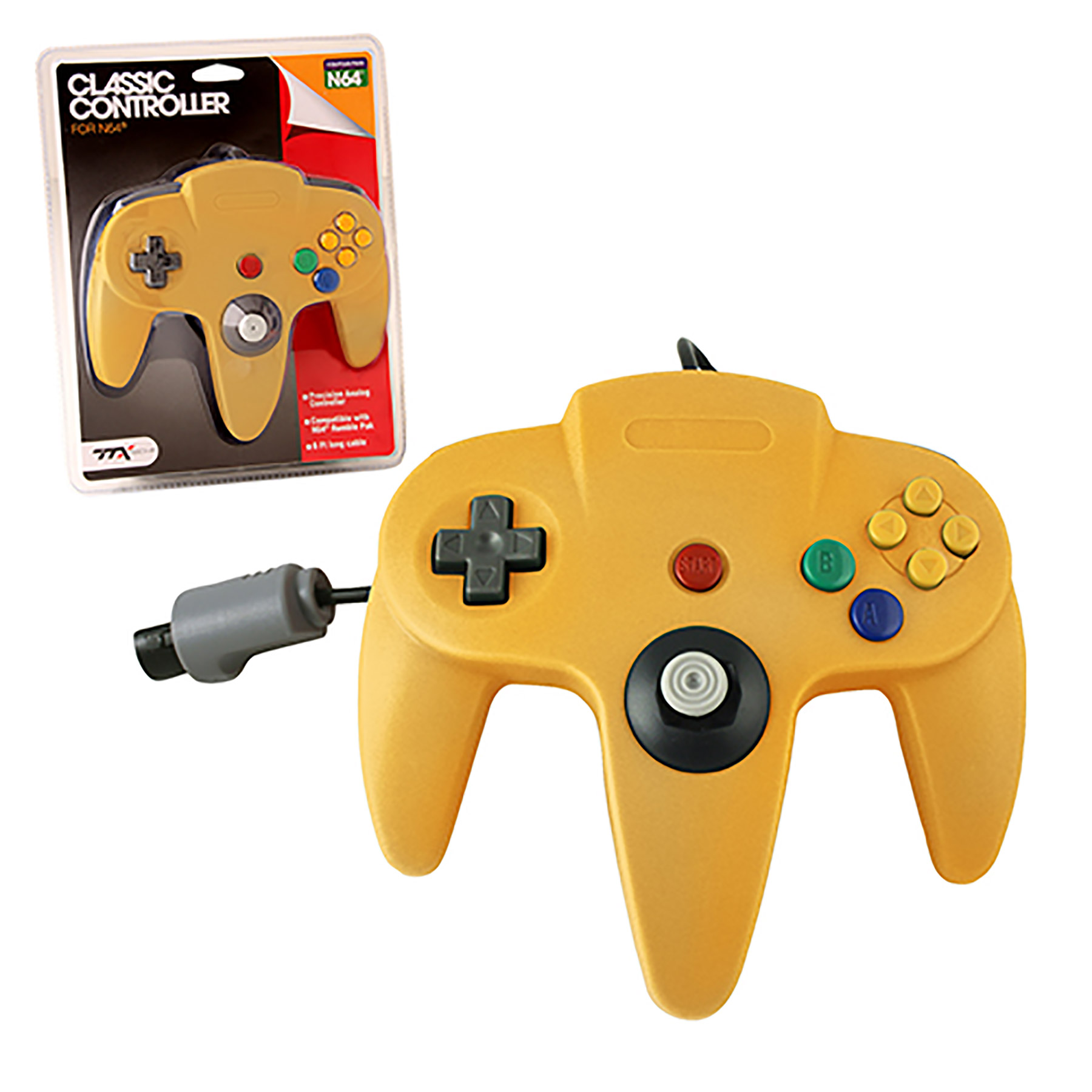 N64 Controller Solid Yellow Original Style Replacement