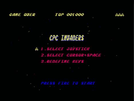 CPC Invaders, menú