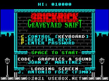 Brick Rick, menú de inicio