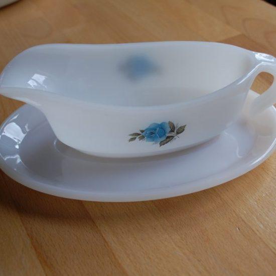 Phoenix Opalware gravy boat blue rose pattern