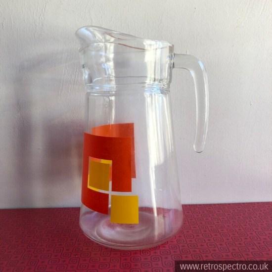 Vintage Glass Jug/Pitcher With Geometric Orange & Yellow Pattern