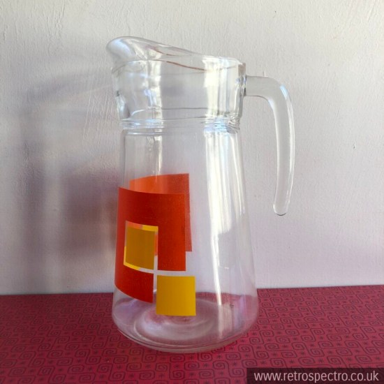 Vintage Glass Jug/Pitcher With Geometric Orange & Yellow Pattern