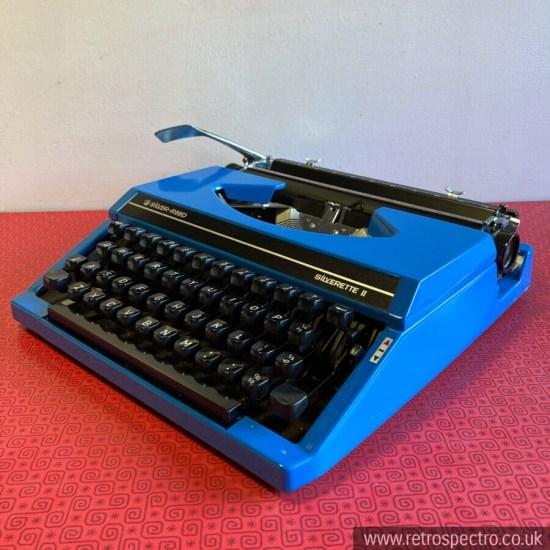 Silver-Reed Silverette II Blue Portable Typewriter