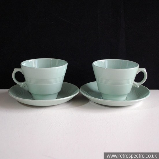 Wood's Ware Beryl Cups and Saucers
