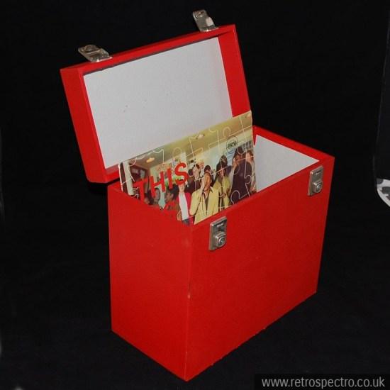 Red vinyl LP record storage case.