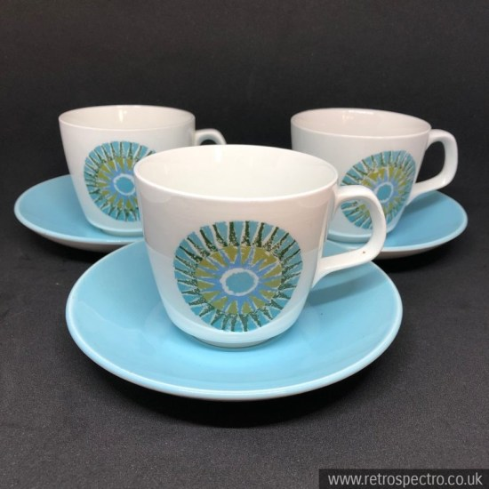 J& G Meakin Aztec cups and saucers