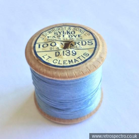 A vintage wooden Dewhurst's Sylko cotton reel in D.139 Lt Clematis