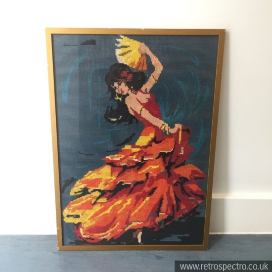 Flamenco dancer vintage framed tapestry picture
