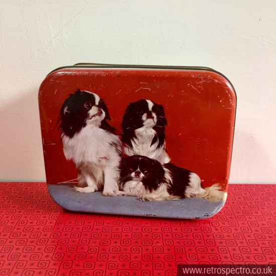 Louis Clauss Vintage Tin with Japanese Chin dogs