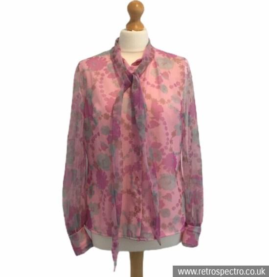St Michael Blouse 70's - modern size 12 - pink nylon flowerpower