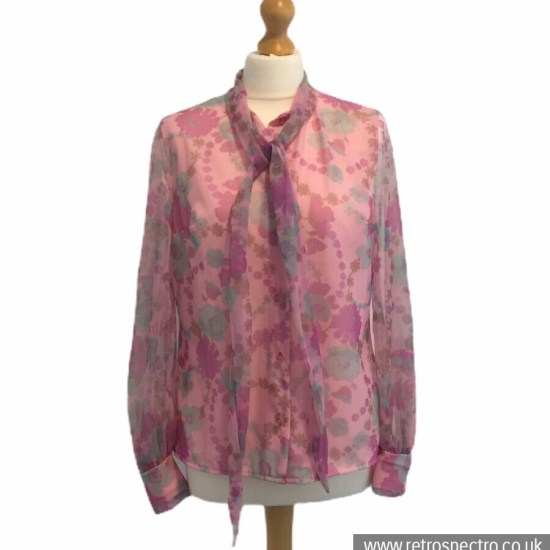 St Michael Blouse 70's - modern size 12 - pink nylon flowerpower