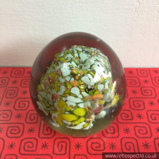 Paperweight Firozabad Indian Orange Yellow Vintage labelled
