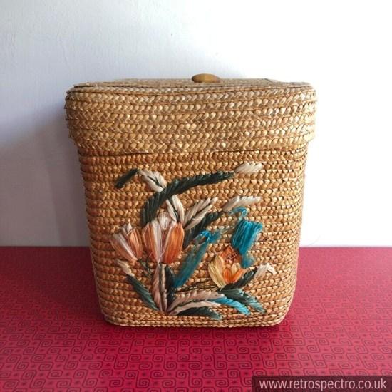 intage Rafia Basket With Floral Pattern & Lid