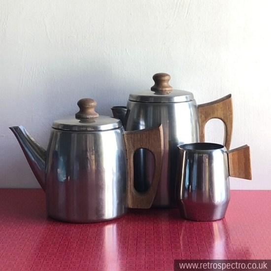 Vintage Tea & Coffee Pot plus Milk Jug With Wooden Handles
