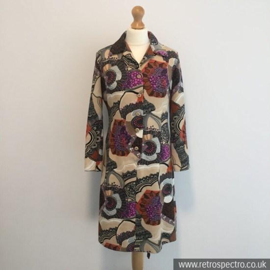 Polyester Dress Circa 70's UK 12-14 Flower Power