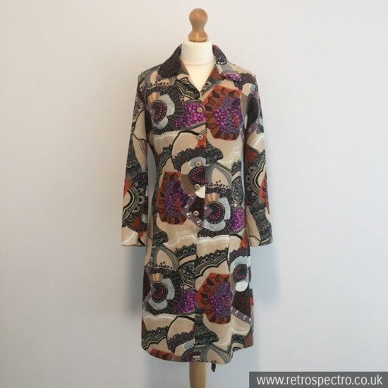 Polyester Dress Circa 70's UK 12-14 Flower Power