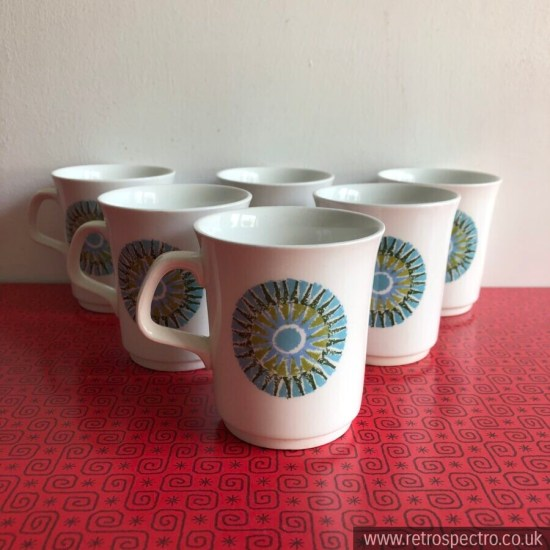 J&G Meakin Tea/Coffee Cups Aztec Pattern