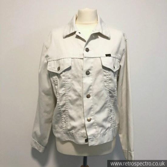 "Wrangler Jacket White Vintage 1970's 42"" Large Made In USA"