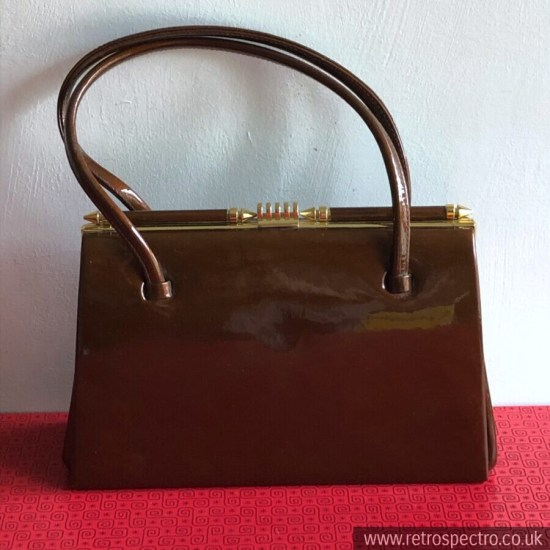 Vintage Handbag Patent Brown Leather Made in England Suede Lining LBF Frame 50's
