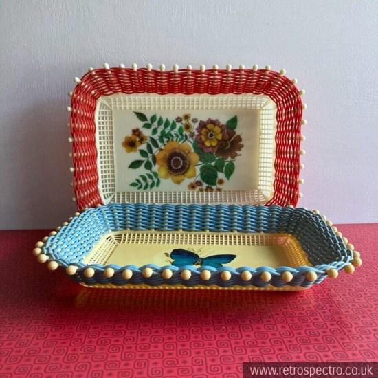 Vintage plastic weave tray