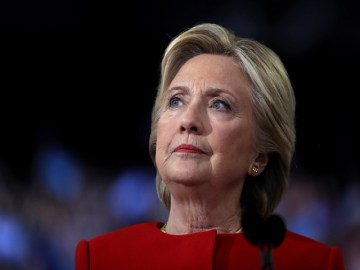 RALEIGH, NC - NOVEMBER 08:  Democratic presidential nominee former Secretary of State Hillary Clinton speaks during a campaign rally at North Carolina State University on November 8, 2016 in Raleigh North Carolina. With less than 24 hours until Election Day in the United States, Hillary Clinton is campaigning in Pennsylvania, Michigan and North Carolina.  (Photo by Justin Sullivan/Getty Images)