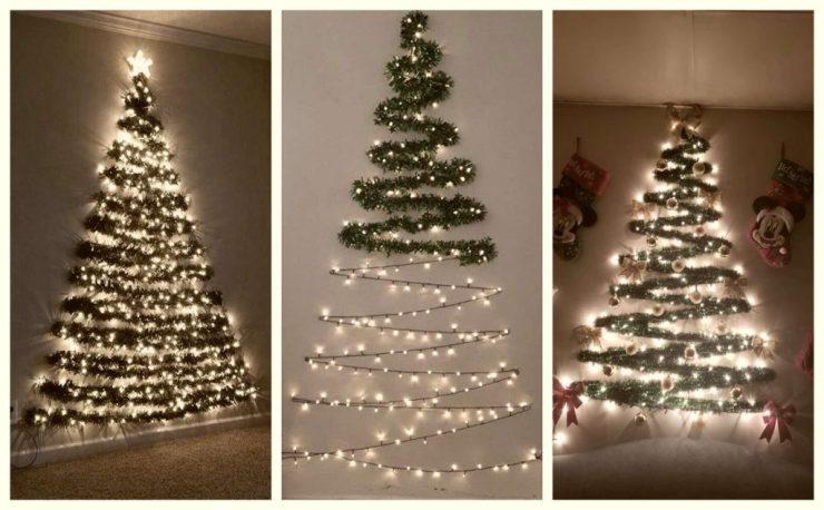 Árboles de navidad con guirnaldas fáciles y sencillos