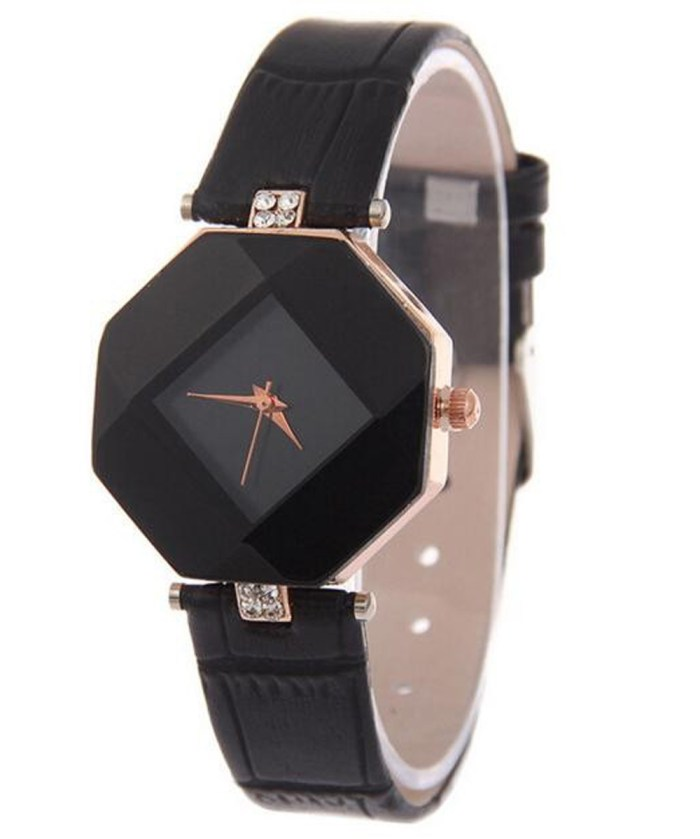 Diamond Cut Stone Strapped Analog Watch For Girls|Black