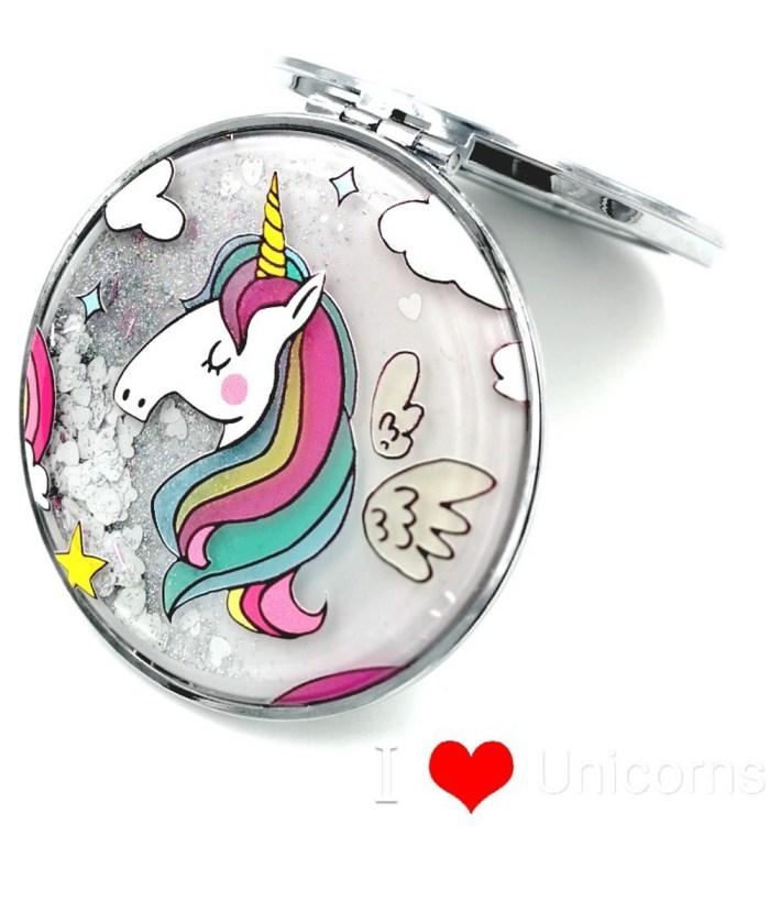 Unicorn Pocket Mirror With Beautiful Hairs|Shimmered Finish