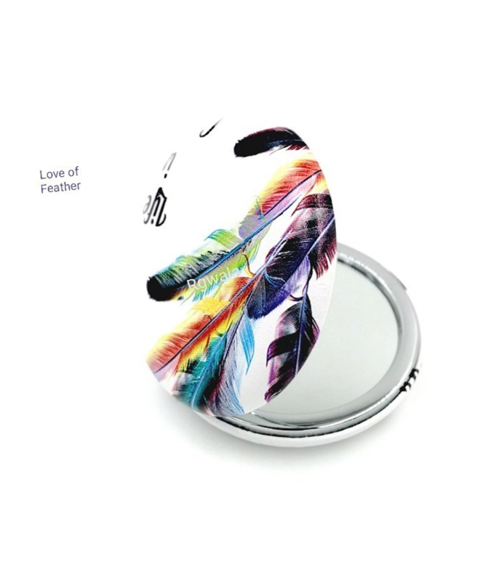 Life is colorful Multicolor leaf Compact mirror with Power side