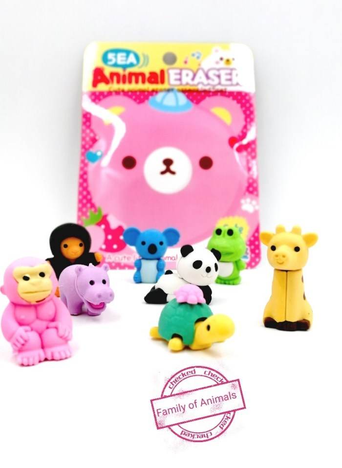 animal shaped erasers birthday return gifts