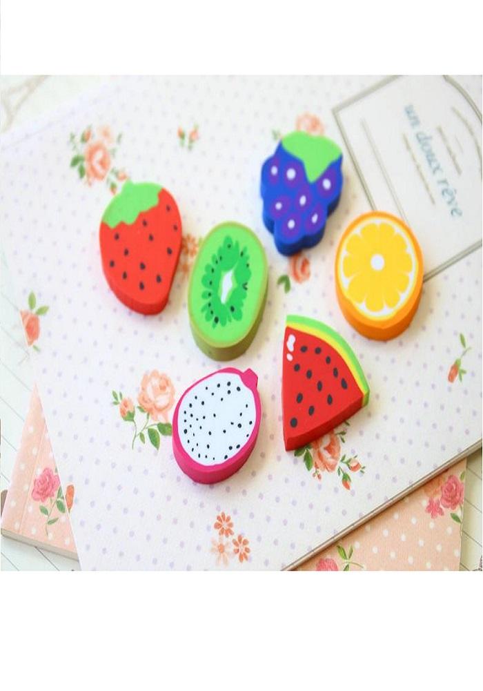 fruit shaped erasers theme return gifts