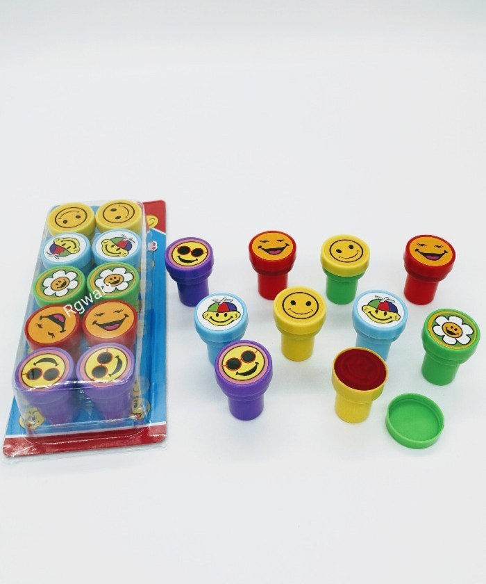 Pack of 10 Colorful Stamps with inbuilt ink pad