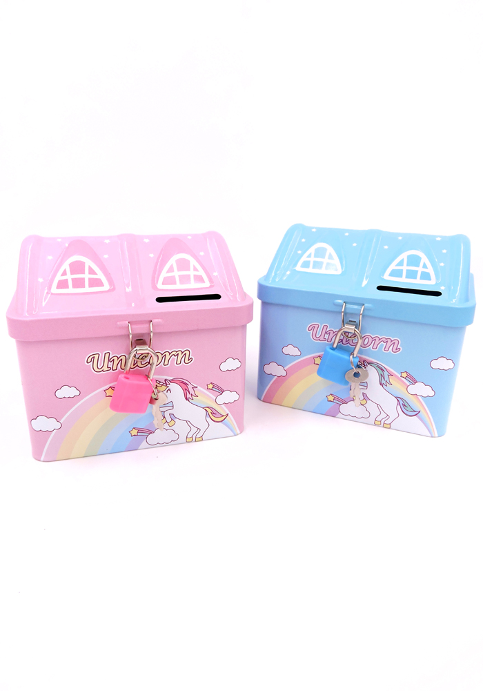 unicorn hut shape kids coin bank with lock and key for kids return gifts