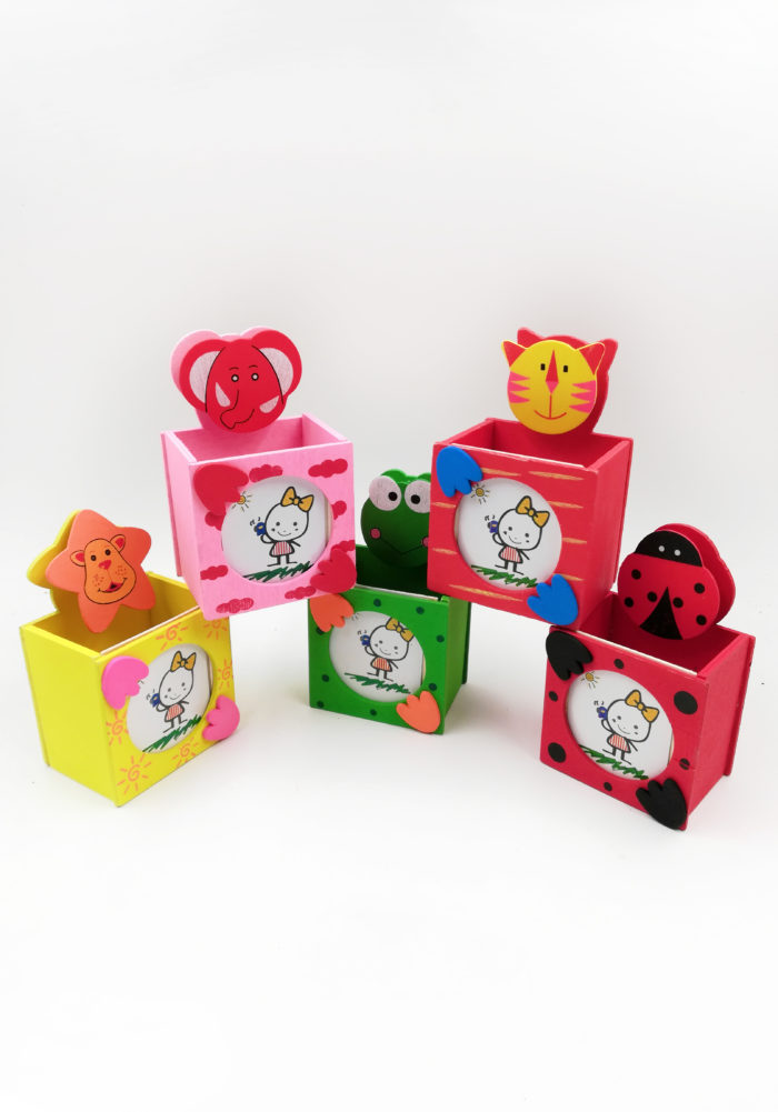 pen stand wooden animal themed party favors- birthday return gifts for kids online india