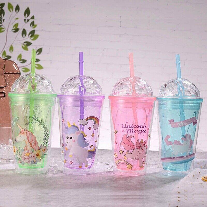 unicorn theme tumbler cup glass