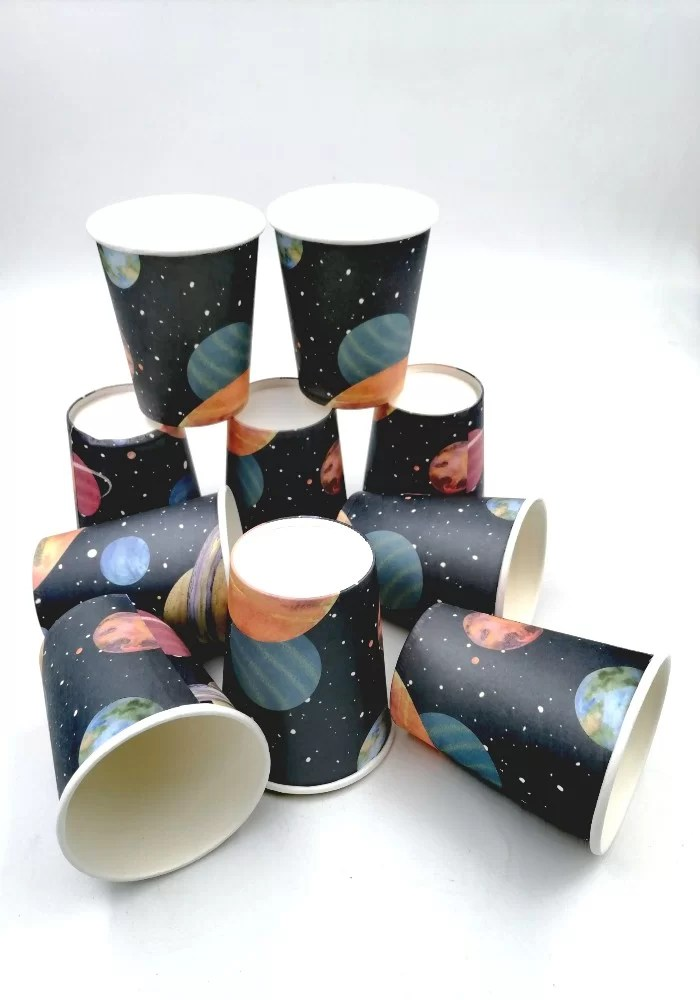 space theme paper cups for party