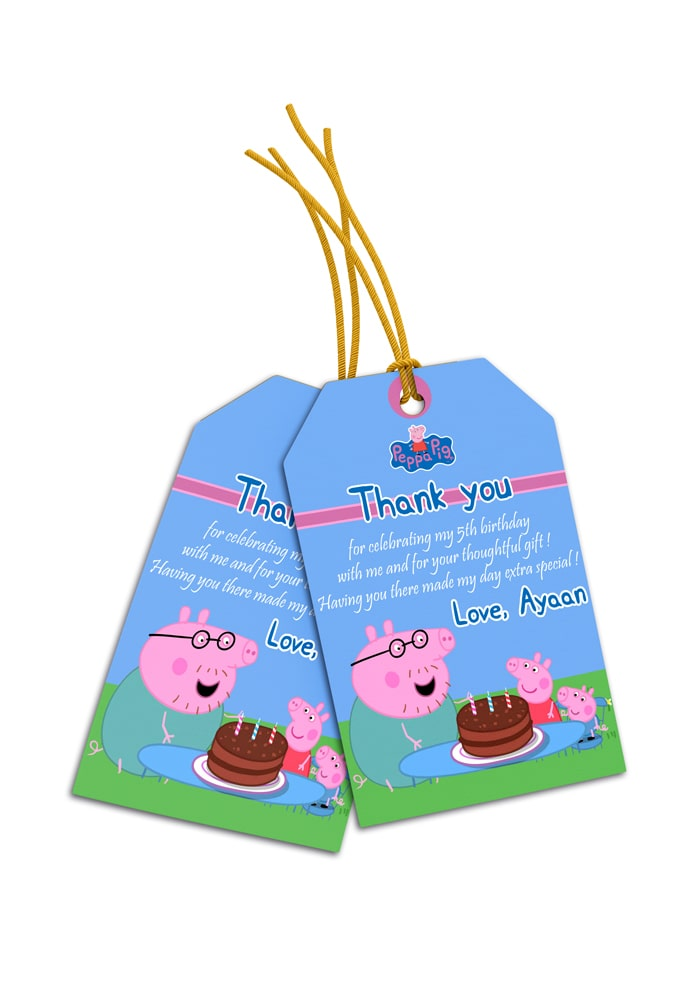 peppa pig theme thank you cards