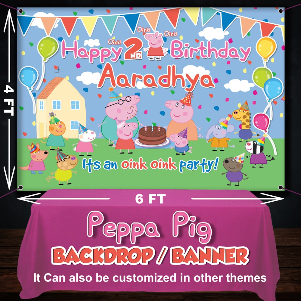 Peppa pig theme backdrop for birthday party