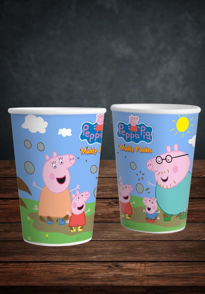 peppa pig theme paper glass for party cups