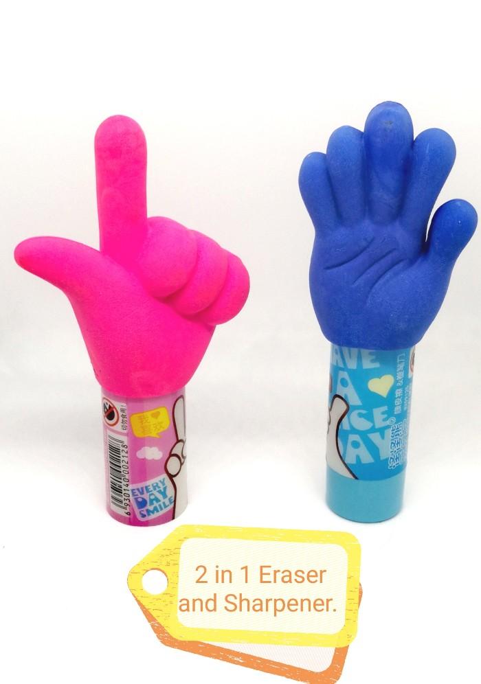 2 in 1 fancy eraser and sharpener set