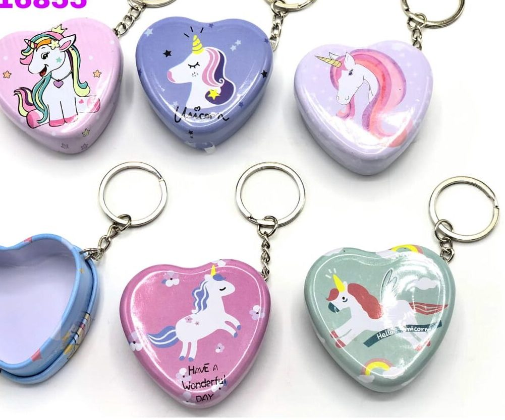 unicorn tin metal key chain box