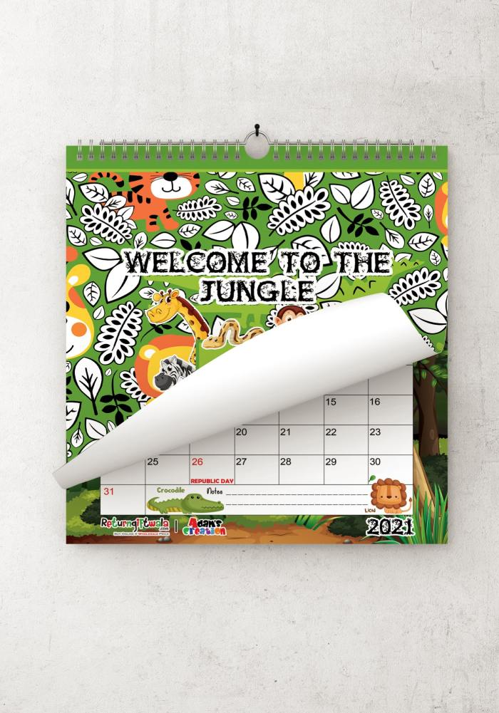 customize jungle theme wall calendar for kids room