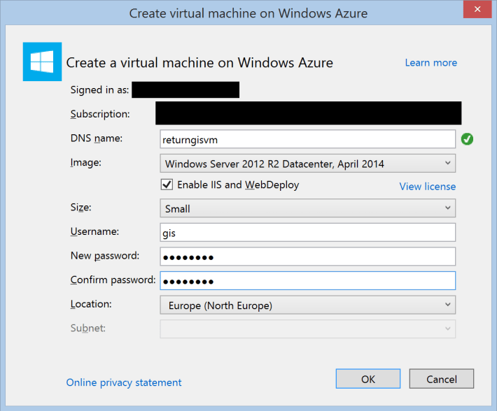 Create virtual machine on Window Azure