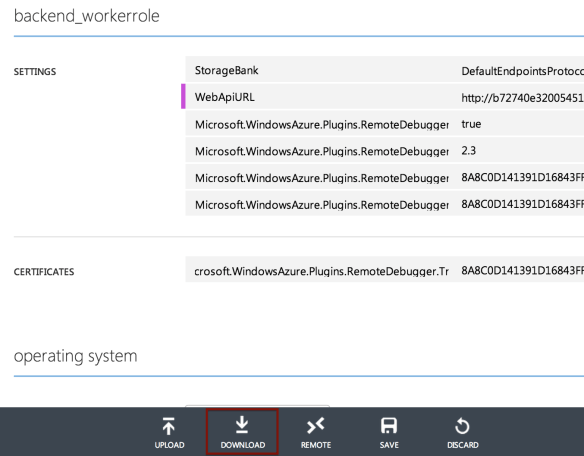 ServiceConfiguration download button