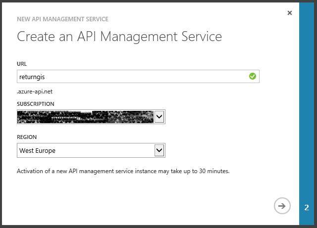 Create an Api Management Service Wizard