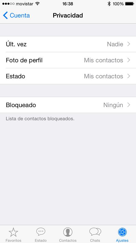 iPhone ajustes cuenta privacidad WhatsApp